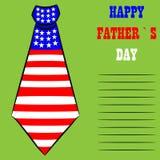 Σχέδιο ευχετήριων καρτών ημέρας του ευτυχούς πατέρα με τη γραβάτα Στοκ Εικόνες