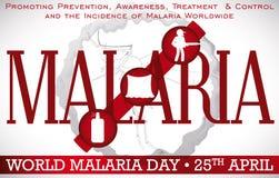 Σχέδιο ημέρας παγκόσμιας ελονοσίας που προωθεί τις μεθόδους πρόληψης για αυτήν την ασθένεια, διανυσματική απεικόνιση Στοκ Εικόνα