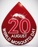 Σχέδιο ημέρας παγκόσμιων κουνουπιών με τη μορφή πτώσης αίματος και το κουνούπι, διανυσματική απεικόνιση Στοκ εικόνα με δικαίωμα ελεύθερης χρήσης