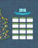 Σχέδιο ημερολογιακού 2016 έτους χριστουγεννιάτικων δέντρων Αγγλικά, έναρξη της Κυριακής Στοκ εικόνα με δικαίωμα ελεύθερης χρήσης