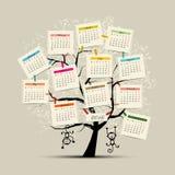 Σχέδιο 2016 ημερολογιακών δέντρων με το σύμβολο πιθήκων Στοκ Εικόνες