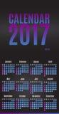 2017 σχέδιο ημερολογιακών αρμόδιων για το σχεδιασμό Μηνιαίο ημερολόγιο τοίχων για το έτος Στοκ φωτογραφίες με δικαίωμα ελεύθερης χρήσης