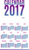 2017 σχέδιο ημερολογιακών αρμόδιων για το σχεδιασμό Μηνιαίο ημερολόγιο τοίχων για το έτος Στοκ Εικόνες