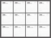 σχέδιο ημερολογιακών αρμόδιων για το σχεδιασμό του 2018 του 2017 Στοκ Φωτογραφίες