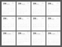 2018 σχέδιο ημερολογιακών αρμόδιων για το σχεδιασμό Στοκ εικόνες με δικαίωμα ελεύθερης χρήσης