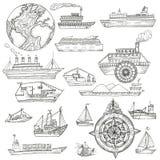 Σχέδιο θάλασσας με τα σκάφη Στοκ φωτογραφίες με δικαίωμα ελεύθερης χρήσης