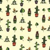 Σχέδιο κάκτων με τα φύλλα Στοκ Εικόνες