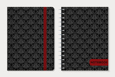 Σχέδιο κάλυψης σημειωματάριων πολικό καθορισμένο διάνυσμα καρδιών κινούμενων σχεδίων ελεύθερη απεικόνιση δικαιώματος