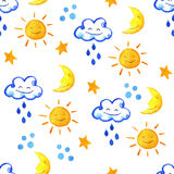 Σχέδιο καιρικού watercolor Χαριτωμένος ήλιος, φεγγάρι, αστέρι, πτώσεις, και σύννεφο χαμόγελου Χρωματισμένη χέρι απεικόνιση Στοκ Εικόνα
