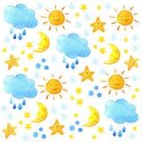 Σχέδιο καιρικού watercolor Χαριτωμένος ήλιος, φεγγάρι, αστέρι, πτώσεις, και σύννεφο χαμόγελου Στοκ φωτογραφία με δικαίωμα ελεύθερης χρήσης