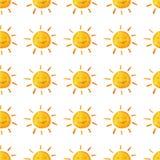 Σχέδιο καιρικού watercolor Χαριτωμένος ήλιος χαμόγελου Χρωματισμένη χέρι απεικόνιση η ανασκόπηση απομόνωσε το λευκό Στοκ εικόνες με δικαίωμα ελεύθερης χρήσης