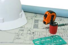 Σχέδιο και εργαλεία για τις κατασκευές Στοκ εικόνα με δικαίωμα ελεύθερης χρήσης