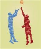 Σχέδιο κακογραφίας των παίχτης μπάσκετ διανυσματική απεικόνιση