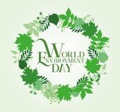 Σχέδιο καρτών ημέρας παγκόσμιου περιβάλλοντος επίσης corel σύρετε το διάνυσμα απεικόνισης Στοκ φωτογραφία με δικαίωμα ελεύθερης χρήσης