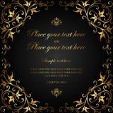 Σχέδιο καρτών πρόσκλησης - μαύρο και χρυσό εκλεκτής ποιότητας ύφος πολυτέλειας Στοκ Φωτογραφίες