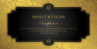 Σχέδιο καρτών πρόσκλησης - μαύρο και χρυσό εκλεκτής ποιότητας ύφος πολυτέλειας Στοκ Εικόνες