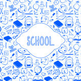 Σχέδιο καρτών σχολικού θέματος, συρμένα χέρι σχολικά στοιχεία Στοκ Εικόνες