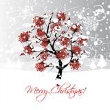 Σχέδιο καρτών Χριστουγέννων με το δέντρο χειμερινών σορβιών και Στοκ Εικόνες