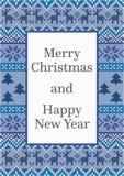 Σχέδιο καρτών Χριστουγέννων με το λεπτομερές σχέδιο Διανυσματική απεικόνιση