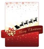 Σχέδιο καρτών Χριστουγέννων στο κόκκινο υπόβαθρο με χρυσά snowflakes και το πετώντας έλκηθρο Santa Στοκ Εικόνες