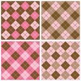 Σχέδιο καρό-Argyle στο ροζ και καφετής Στοκ Εικόνα