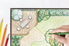 Σχέδιο κατωφλιών σχεδίου αρχιτεκτόνων τοπίου Στοκ φωτογραφίες με δικαίωμα ελεύθερης χρήσης