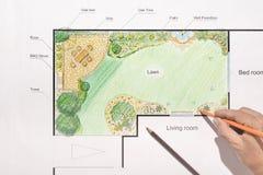 Σχέδιο κατωφλιών σχεδίου αρχιτεκτόνων τοπίου Στοκ Εικόνες