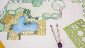 Σχέδιο κατωφλιών σχεδίου αρχιτεκτόνων τοπίου απόθεμα βίντεο