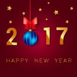 Σχέδιο κειμένων καλής χρονιάς 2017 Διανυσματική απεικόνιση χαιρετισμού με το τόξο και τα αστέρια σφαιρών Χριστουγέννων Στοκ εικόνες με δικαίωμα ελεύθερης χρήσης