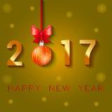 Σχέδιο κειμένων καλής χρονιάς 2017 Διανυσματική απεικόνιση χαιρετισμού με το τόξο και τα αστέρια σφαιρών Χριστουγέννων Στοκ Φωτογραφία