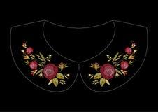 Σχέδιο κεντητικής βελονιών σατέν με τα τριαντάφυλλα Λαϊκό floral καθιερώνον τη μόδα σχέδιο γραμμών για το περιλαίμιο φορεμάτων διανυσματική απεικόνιση