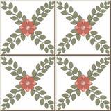 Σχέδιο 312 κεραμικών κεραμιδιών διαγώνιο ρόδινο λουλούδι αμπέλων φύλλων ελεύθερη απεικόνιση δικαιώματος