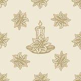 Σχέδιο κεριών λουλουδιών Χριστουγέννων Poinsettia Στοκ φωτογραφία με δικαίωμα ελεύθερης χρήσης