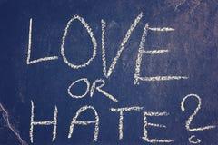 Σχέδιο κιμωλίας αγάπης ή μίσους, εννοιολογική εικόνα Στοκ Φωτογραφία