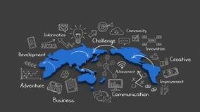 Σχέδιο κιμωλίας, αυξανόμενη σφαιρική επιχειρησιακή έννοια και επιχειρησιακή λέξη κλειδί, οικονομική απεικόνιση 1 διανυσματική απεικόνιση