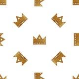 Σχέδιο κορωνών Το χέρι χρωμάτισε το άνευ ραφής υπόβαθρο Εκλεκτής ποιότητας χρυσή απεικόνιση Στοκ Φωτογραφίες