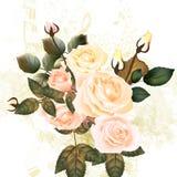 Σχέδιο κρητιδογραφιών Grunge με τα τριαντάφυλλα και τις σημειώσεις Στοκ φωτογραφίες με δικαίωμα ελεύθερης χρήσης