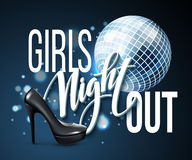 Σχέδιο κόμματος νύχτας κοριτσιών έξω επίσης corel σύρετε το διάνυσμα απεικόνισης Στοκ Εικόνα