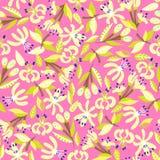 Σχέδιο με τα αφηρημένα λουλούδια λεμονιών Στοκ Εικόνα