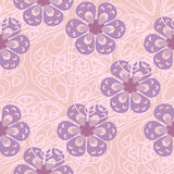Σχέδιο με τα αφηρημένα λουλούδια στην κρητιδογραφία και τις ιώδεις σκιές Στοκ Εικόνες