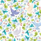 Σχέδιο με τα ζωηρόχρωμα περιστέρια και τα λουλούδια Στοκ Εικόνες