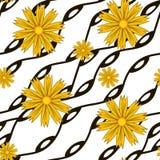 Σχέδιο με τα κίτρινα λουλούδια και τις κυματιστές γραμμές ελεύθερη απεικόνιση δικαιώματος
