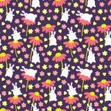 Σχέδιο με τα κουνέλια και τα λουλούδια Στοκ φωτογραφία με δικαίωμα ελεύθερης χρήσης