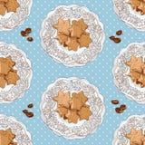 Σχέδιο με τα μπισκότα και τα φασόλια καφέ Ελεύθερη απεικόνιση δικαιώματος
