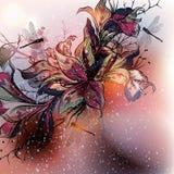 Σχέδιο με τα λουλούδια κρίνων στο ύφος watercolor Στοκ φωτογραφίες με δικαίωμα ελεύθερης χρήσης