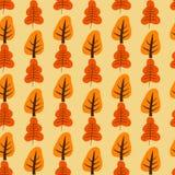 Σχέδιο με τα πορτοκαλιά και κόκκινα δέντρα Στοκ Εικόνες