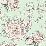 Σχέδιο με τα τριαντάφυλλα και τις κορδέλλες, γαμήλιο θέμα Στοκ Εικόνες