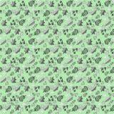 Σχέδιο με τα φύλλα σε ένα πράσινο υπόβαθρο Στοκ Εικόνα