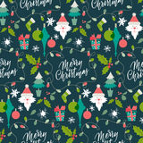 Σχέδιο με τα χειμερινά σύμβολα Χριστούγεννα και νέο έτος congrats Χαιρετισμοί εποχής Εγγραφή για το postca ελεύθερη απεικόνιση δικαιώματος
