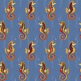 Σχέδιο με τα seahorses και τα εργοστάσια νερού Στοκ Φωτογραφία